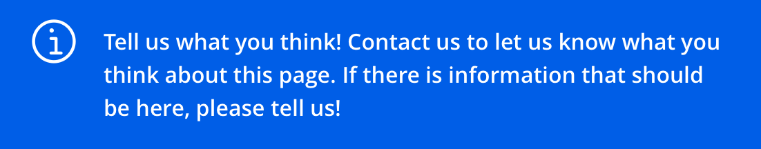 Tell us what you think! Contact us to let us know what you think about this page.